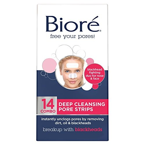 Biore Combo Pack Deep Cleansing Pore Strips Face/Nose 14 Each [14 Combo (7 Nose Strips & 7 Face Strips)]