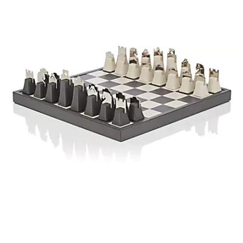 Barneys New York Leather & Metal Chess Set