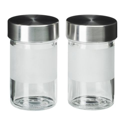 DROPPAR Spice jar, frosted glass, stainless steel
