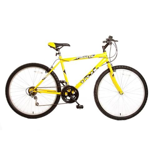 Titan 102-8118 Pioneer Men's All-Terrain Yellow Mountain Bike