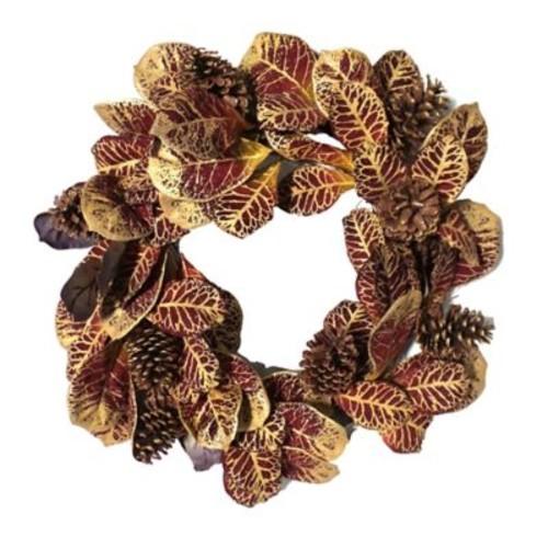Gold Eagle USA 22.44'' Gild Croton Leaf and Pinecone Wreath