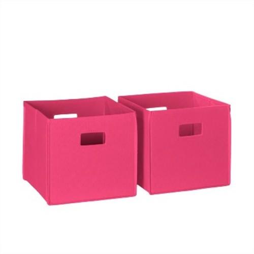 RiverRidge 2pc Folding Storage Bin Set - Hot Pink (Cut-out Handle)