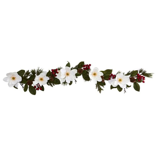 Nearly Natural 6 ft. Magnolia, Pine and Berries Artificial Garland