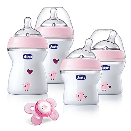 Chicco NaturalFit 5-Piece 0M + Wide Neck Slow Flow Bottle Gift Set in Pink Deco