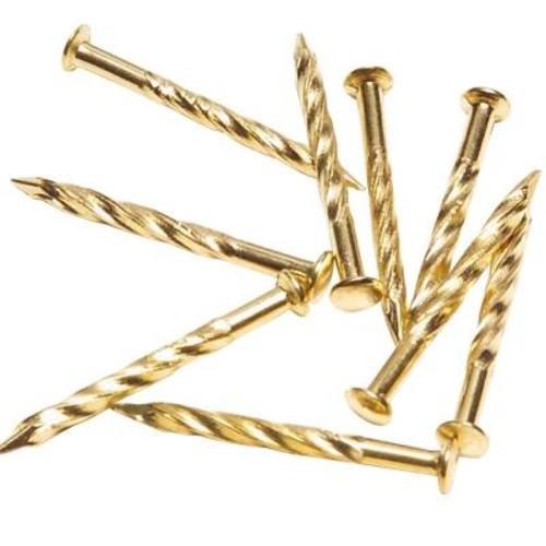 TrafficMASTER 1-1/4 in. Satin Brass Floor Metal Screw Nails (12- Pack)