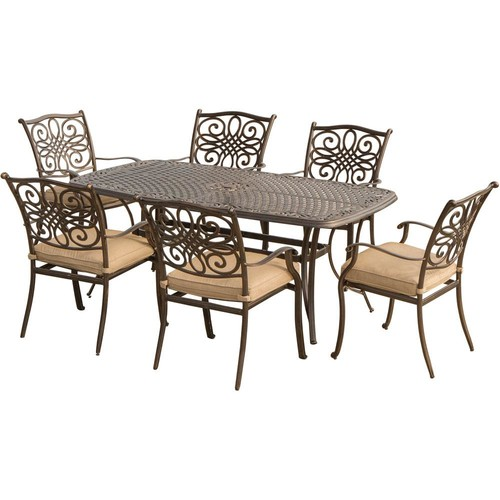 Hanover Traditions 7-Piece Aluminum Outdoor Dining Set with Natural Oat Cushions