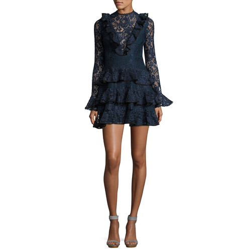ALEXIS Tracie Long-Sleeve Tiered Ruffled Lace Mini Dress