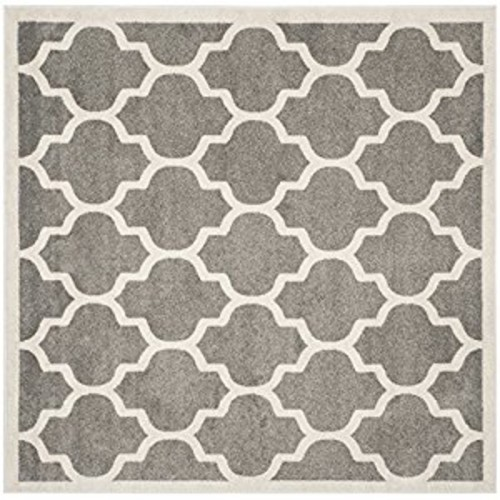 Safavieh Amherst Collection AMT420R Dark Grey and Beige Indoor/ Outdoor Square Area Rug (5' Square)