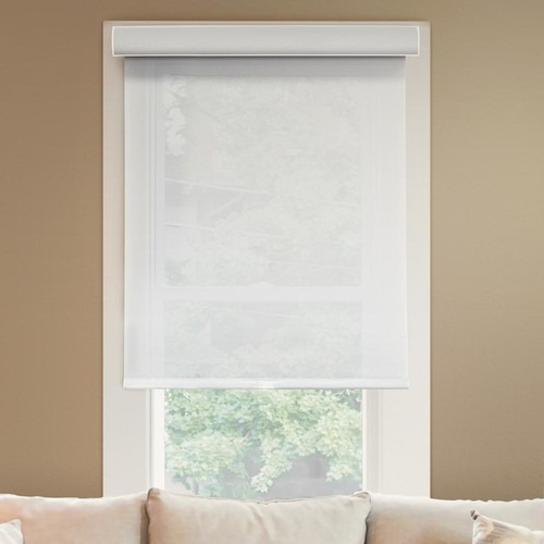Chicology 28 in. W x 72 in. L Urban White Light Filtering Horizontal Roller Shade