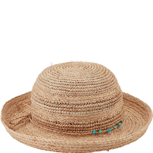 San Diego Hat Raffia Kettle Brim Turquoise Trim Hat
