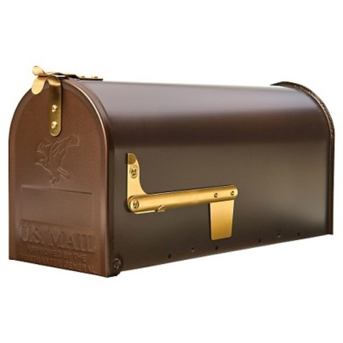 Gibraltar Mailboxes Madison Steel Post-Mount Mailbox, Venetian Bronze