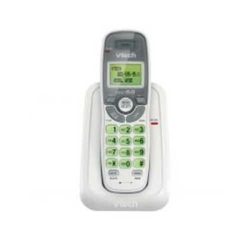 VTech CS6114 DECT 6.0 Cordless Phone with Caller ID/Call Waiting, White/Grey with 1 Handset [Without Answering System]
