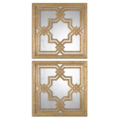 Global Direct 20 in. x 20 in. Gold Wood Framed Mirror (2-Pack)