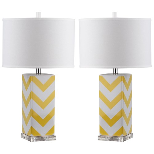 Set of Two Chevron Stripe Table Lamps in Yellow design by Safavieh