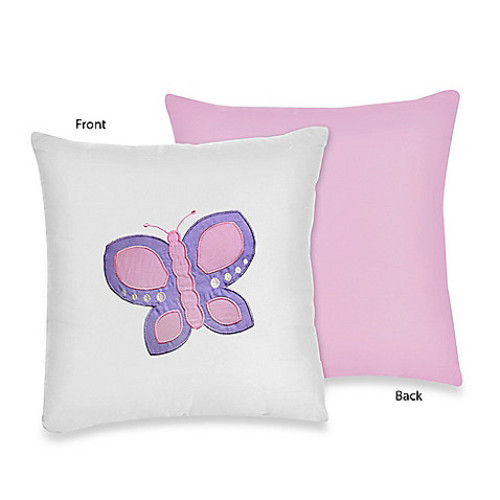 Sweet Jojo Designs Butterfly Decorative Pillow in Pink/Purple