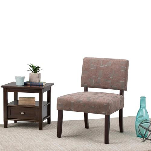 Simpli Home Virginia Brown Fabric Slipper Chair