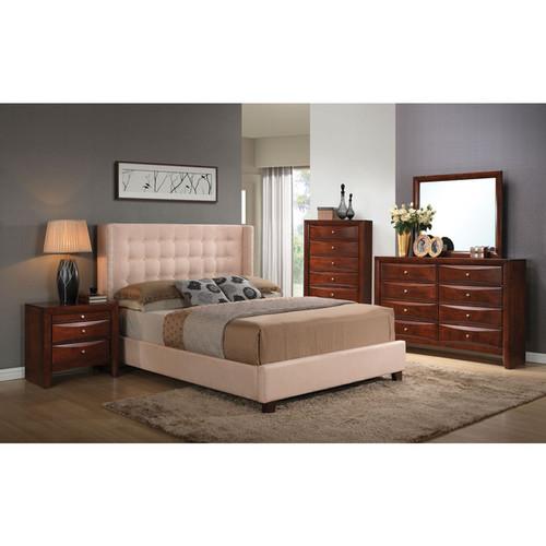 Mallalai Beige Microfiber Upholstered Bed