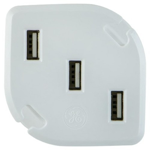 GE 3 Port USB Charger (3.4A) with Folding Prongs & Cable Management - White