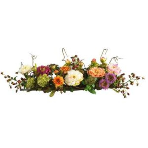 Nearly Natural 3 ft. Peony Centerpiece Silk Flower Arrangement