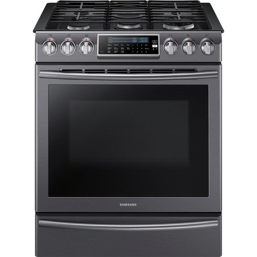 Samsung - 5.8 Cu. Ft. Self-Cleaning Slide-In Gas Convection Range - Black stainless steel