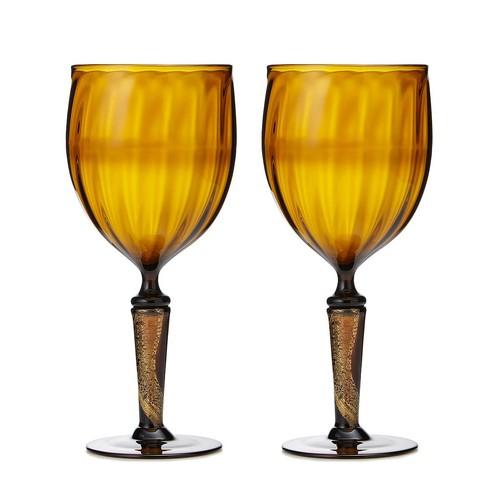 Gold Leaf Upcycled Goblet Set
