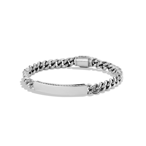 Petite Pav Curb Link ID Bracelet with Diamonds