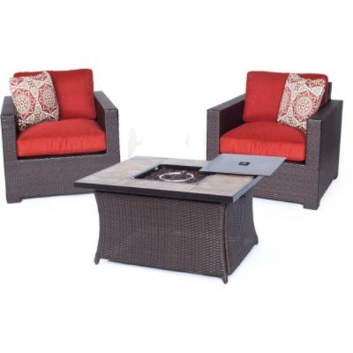 Hanover Metropolitan Brown 3-Piece All-Weather Wicker Patio LP Gas Fire Pit Chat Set with Autumn Berry Cushions