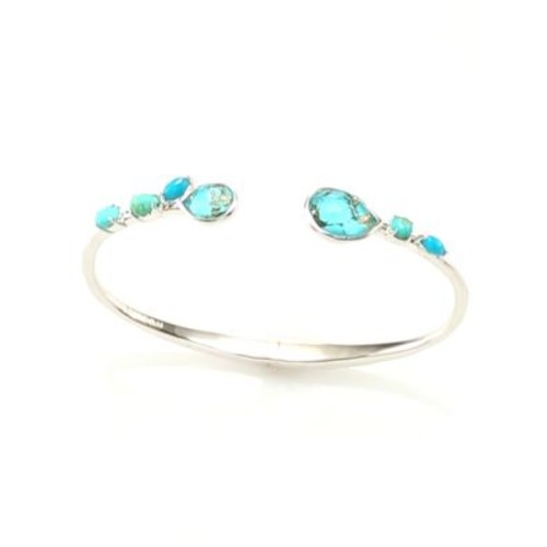 925 Rock Candy Small Double Mixed Stone Stations Hinged Bangle