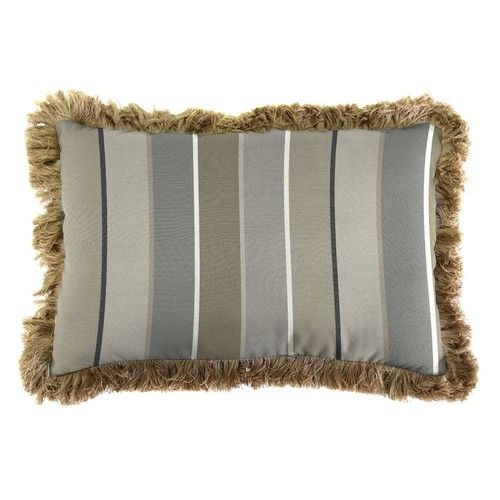 Jordan Manufacturing Sunbrella 19 in. x 12 in. Milano Charcoal Outdoor Throw Pillow with Heather Beige Fringe