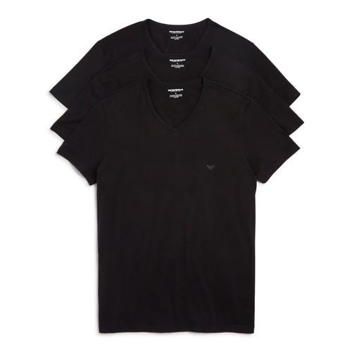 Emporio Armani Men's 3-Pack Regular Fit V-Neck Undershirt [New Black, Medium]