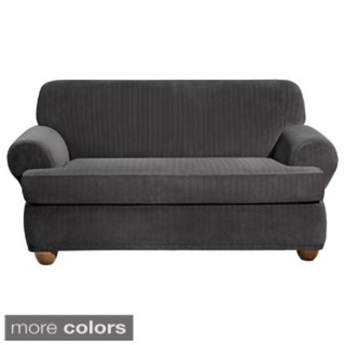 Sure Fit Stretch Plush Black T-cushion Loveseat Slipcover