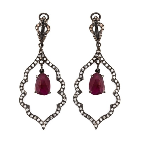 diamond and ruby drop earrings