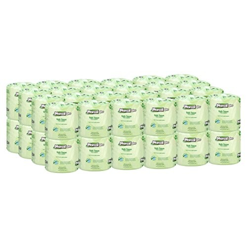 Marcal Pro Toilet Paper 100% Recycled - 2 Ply, White Bath Tissue, 504 Sheets Per Roll - 48 Individually Wrapped Rolls Per Case Green Seal Certified Toilet Paper 03001 [1 Cases]
