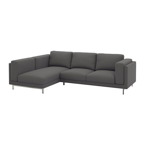 NOCKEBY Cover for sofa, with chaise, left left, Ten dark gray [cover : left/Ten dark gray]
