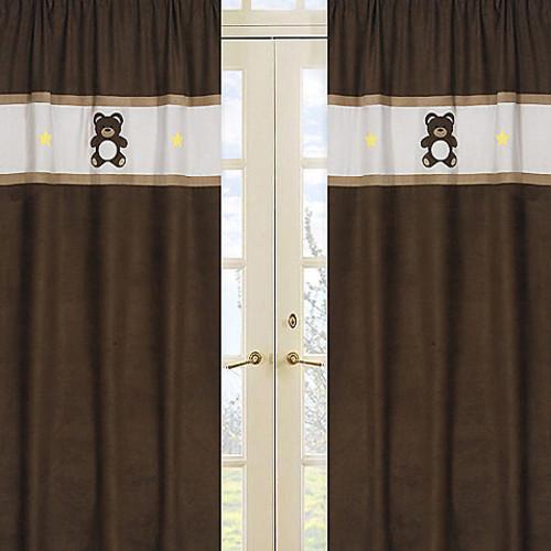Sweet Jojo Designs Teddy Bear Window Panel Pair in Chocolate