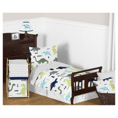 Blue & Green Mod Dinosaur Bedding Set (Toddler) - Sweet Jojo Designs