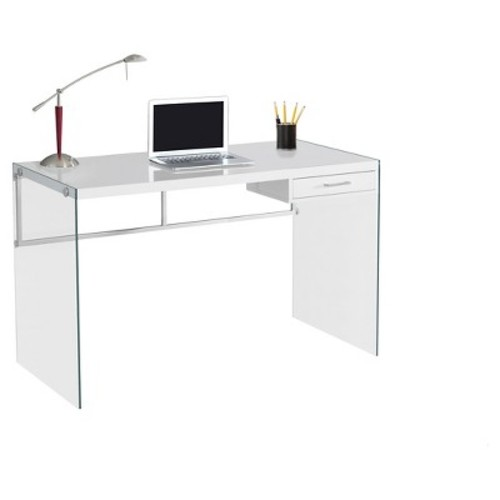 Tempered Glass Computer Desk - Glossy White - Monarch Specialties