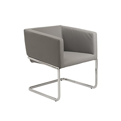 Euro Style Ari Modern Soft Leatherette Lounge Chair with Chromed Steel Base, Gray [White]