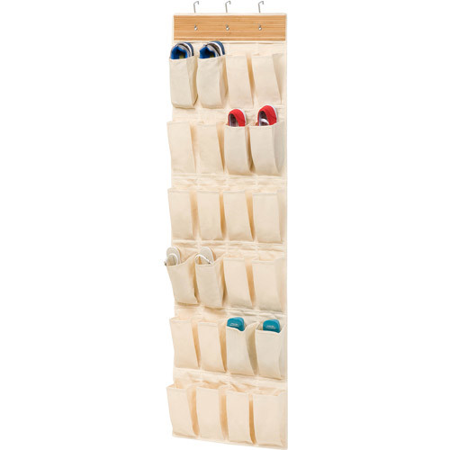 Honey Can Do 24 Pocket Over The Door Shoe Organizer, Bamboo