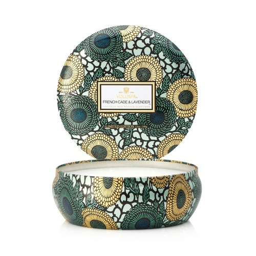 Japonica French Cade & Lavender 3 Wick Candle in Decorative Tin