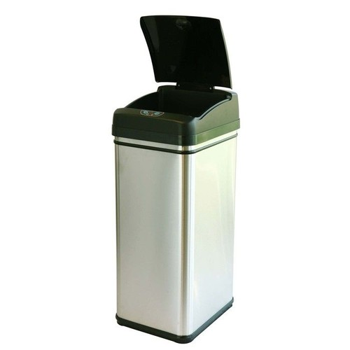 ITOUCHLESS Stainless Steel Touchless Trash Can with Carbon Filter Technology