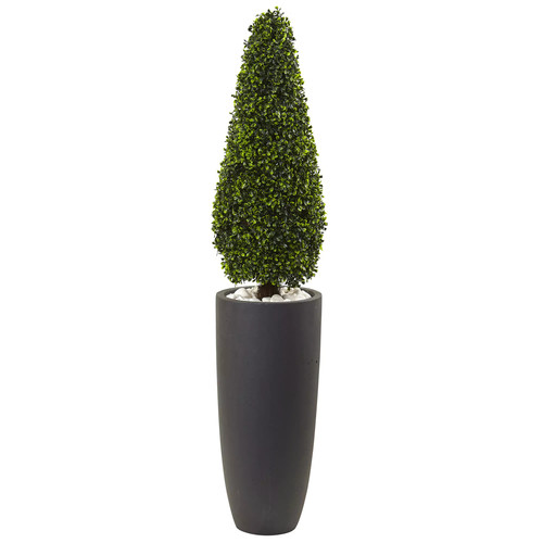 Nearly Natural Grey 50-inch Boxwood Topiary Indoor/Outdoor Silk Plant