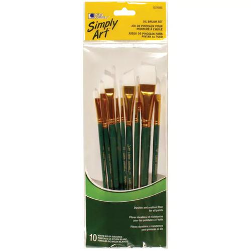 Loew-Cornell 1021085 10-count Assorted Sizes White Nylon Oil Brush Set