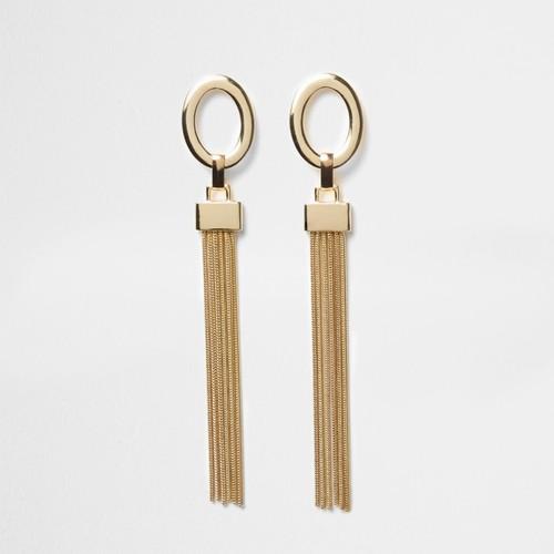 Gold tone drop tassel earrings