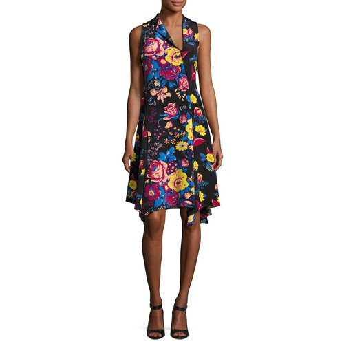 DIANE VON FURSTENBERG Sleeveless Bias-Cut Floral-Print Silk Dress, Black Pattern