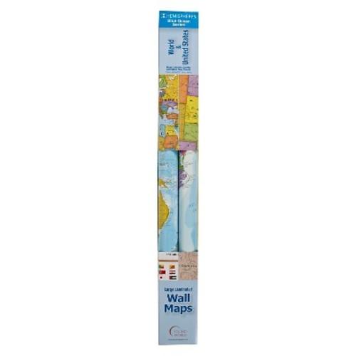 Hemisphere Blue Ocean World and USA Wall Map Set