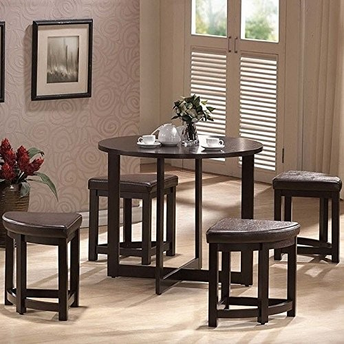 Baxton Studio Rochester Brown Modern Bar Table Set with Nesting Stools [Dark Brown]