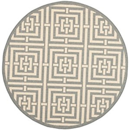 Safavieh Courtyard Collection CY6937-65 Grey and Cream Indoor/ Outdoor Round Area Rug (6'7
