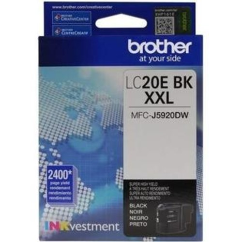 Brother LC-20EBK Ink Cartridge - Black - Inkjet - Super High Yield - 2400 Page - OEM