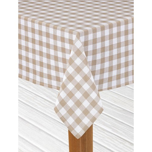 Lintex Buffalo Check 60 in. x 84 in. Sand 100% Cotton Table Cloth for Any Table